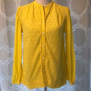 J Crew Eyelet Button Up Yellow Lace Shirt G1150